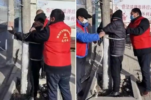 Community volunteers tie elderly man to tree after he breaks Covid-19 lockdown rules in northern China