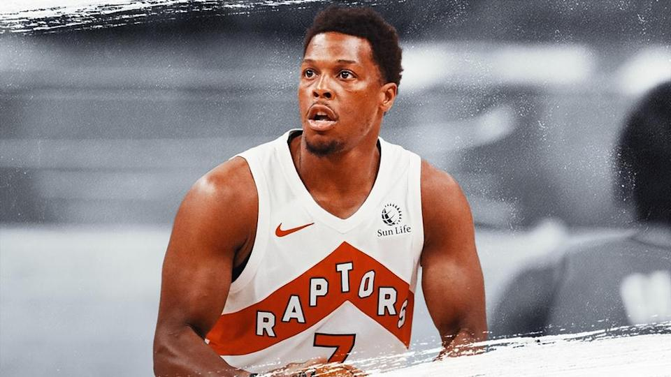Kyle Lowry treated image, white Raptors jersey and grey background
