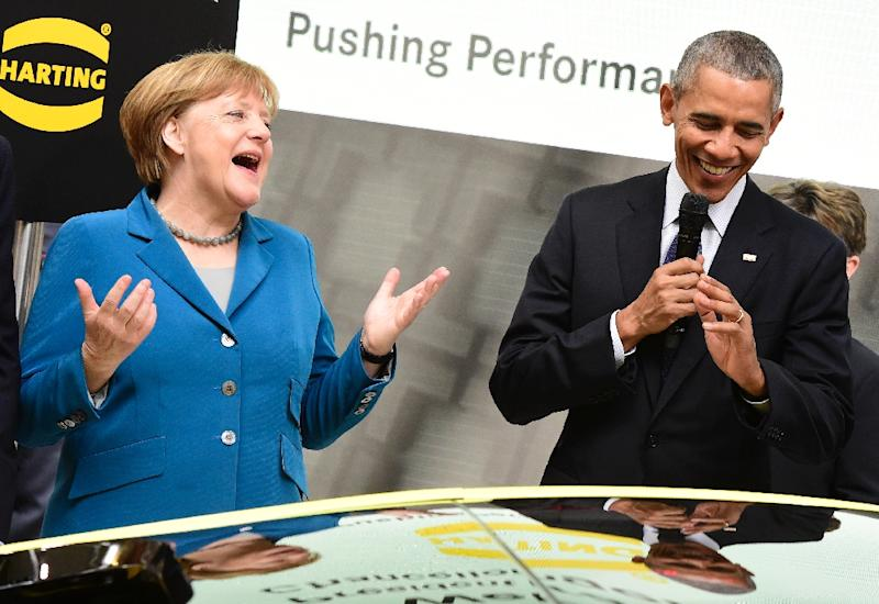 "US President Barack Obama said German Chancellor Angela Merkel had shown ""real political and moral leadership"" in letting in more than 1.1 million refugees (AFP Photo/Tobias Schwarz                )"