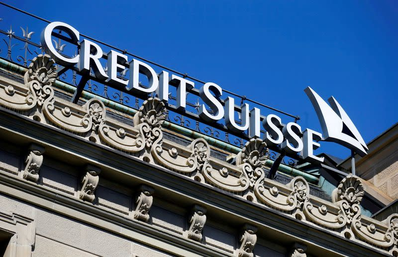 FILE PHOTO: Logo of Swiss bank Credit Suisse is seen in Zurich