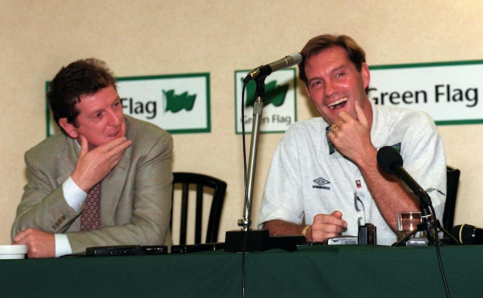 Fromer Milan's Internazionale soccer team Roy Hodgson and English national soccer team coach Glenn Hoddle smile at a press conference in Rome, Friday October 10, 1997. England will play against Italy in a World Cup qualifying match in Rome's Stadio Olimpico on Saturday night October 11, 1997.