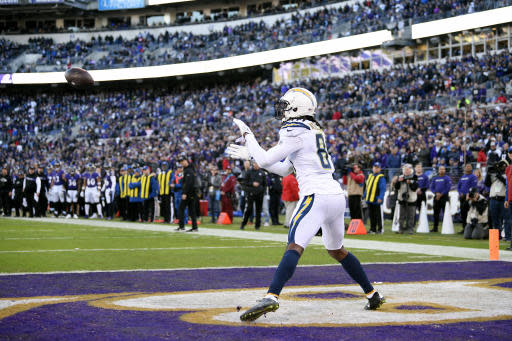 Los Angeles Chargers wide receiver Mike Williams catches a pass for a two-point conversion in the second half of an NFL wild card playoff football game against the Baltimore Ravens, Sunday, Jan. 6, 2019, in Baltimore. (AP Photo/Nick Wass)