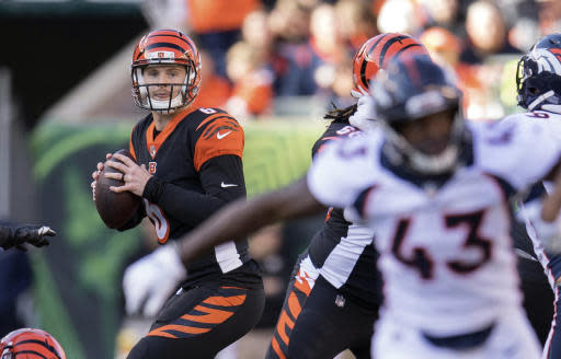 FILE - In this Sunday, Dec. 2, 2018, file photo, Cincinnati Bengals quarterback Jeff Driskel (6) looks to pass during the first half of the NFL football game against the Denver Broncos in Cincinnati. Driskel's NFL starting debut was a disappointment. He had two turnovers as Denver pulled away to a 24-10 win over the Bengals. The backup quarterback gets a second chance this week at the Chargers. (AP Photo/Bryan Woolston, FIle)