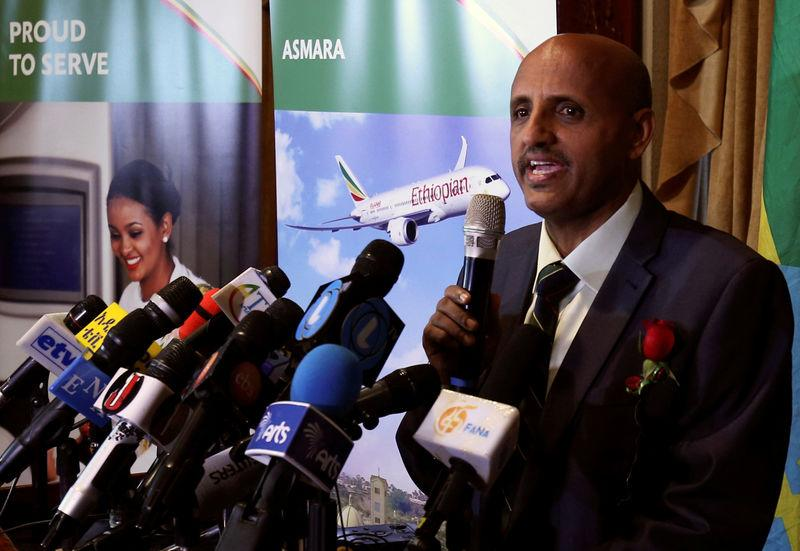 FILE PHOTO: Ethiopian Airlines Chief Executive Officer Tewolde Gebremariam speaks during the ceremony as they resume flights to Eritrea's capital Asmara at the Bole international airport in Addis Ababa