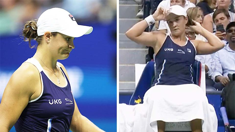 Ash Barty (pictured left) was frustrated after losing the first set against Shelby Rogers at the US Open.