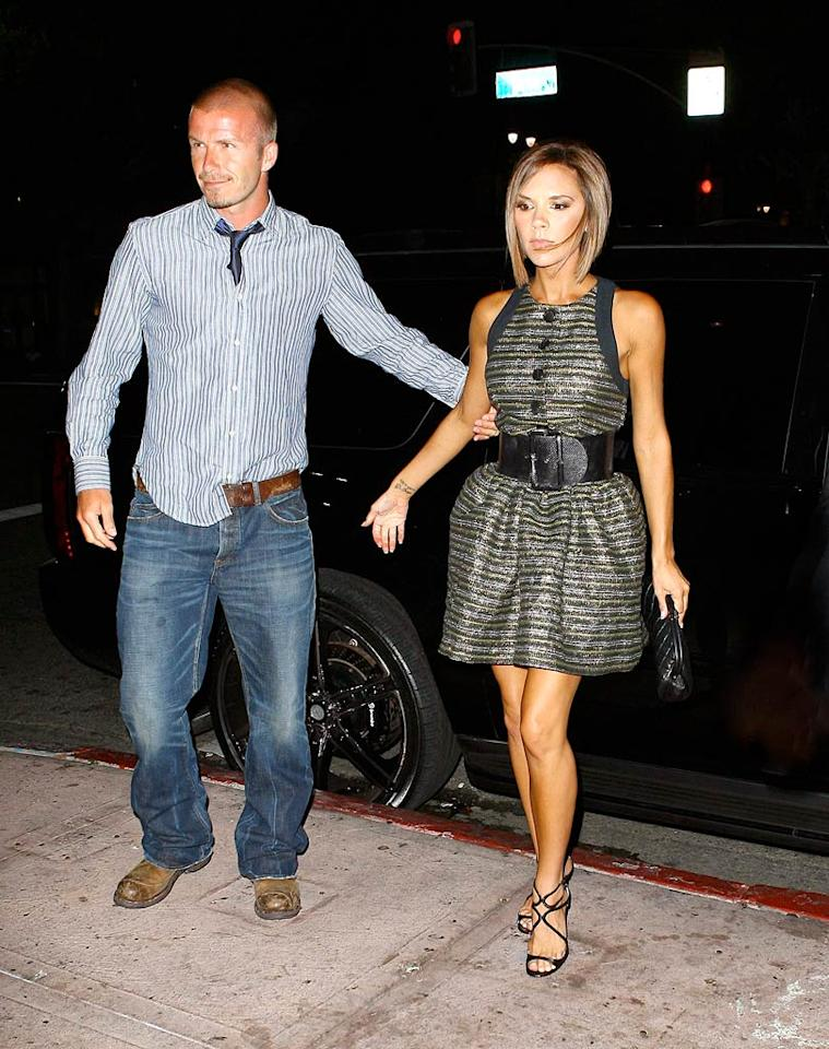 """David and Victoria Beckham arrive at Beso, Eva Longoria's Hollywood eatery. AlphaX/<a href=""""http://www.x17online.com"""" target=""""new"""">X17 Online</a> - August 11, 2008"""