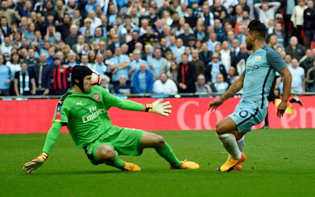 <span>That man again: Cech was not quick enough off his line to deny Aguero</span> <span>Credit: EPA </span>