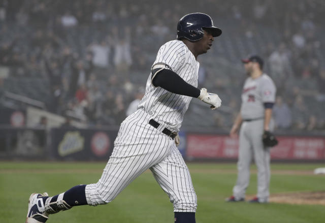 New York Yankees' Didi Gregorius rounds the bases after hitting a solo home run against the Minnesota Twins during the third inning of a baseball game, Wednesday, April 25, 2018, in New York. (AP Photo/Julie Jacobson)