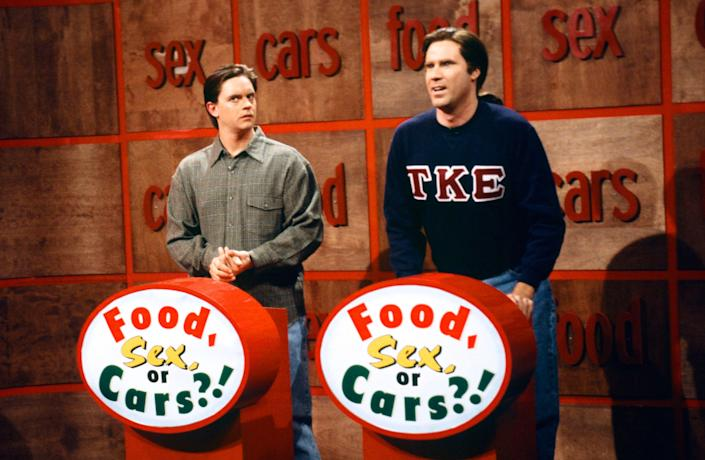 """A picture of Jim Breuer alongside Will Ferrell on """"SNL"""" in 1997."""