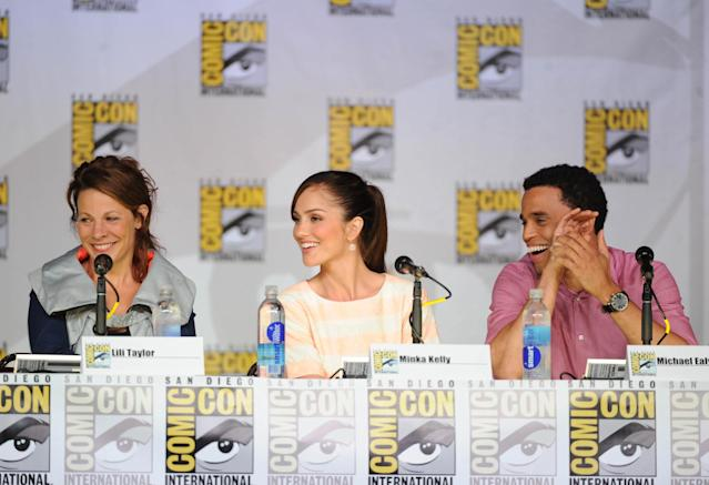 "Lili Taylor, Minka Kelley, and Michael Ealy talk to fans during the ""Almost Human"" panel on Friday, July 19 during Fox Fanfare at San Diego Comic-Con 2013."