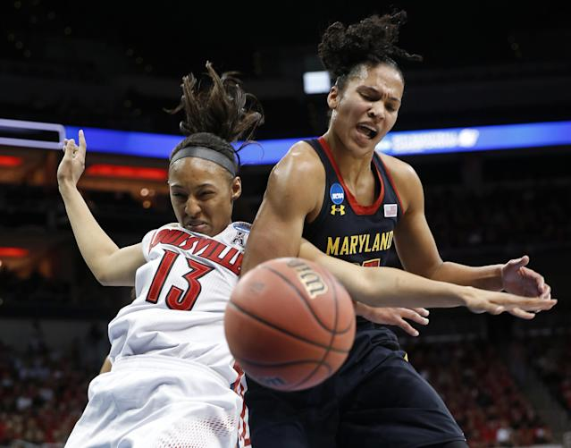 Louisville forward Cortnee Walton (13) and Maryland forward Alyssa Thomas scramble for a rebound during the first half of a regional final in the NCAA women's college basketball tournament, Tuesday, April 1, 2014, in Louisville, Ky. (AP Photo/John Bazemore)