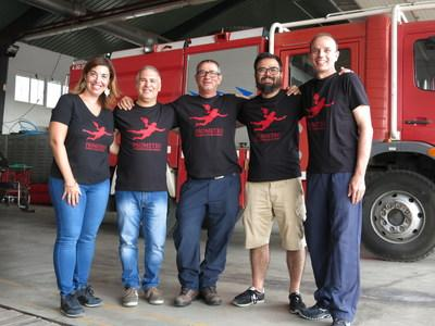 The Prometeo team, (from left) Salomé Valero Cumplido, Marco Emilio Rodriguez Serrano, Joan Herrera, and Vicenç Ferrés Padró, created a cognitive platform to take care of firefighters' health and safety in real-time and over the long-term using sensors, monitoring, IoT and machine learning.