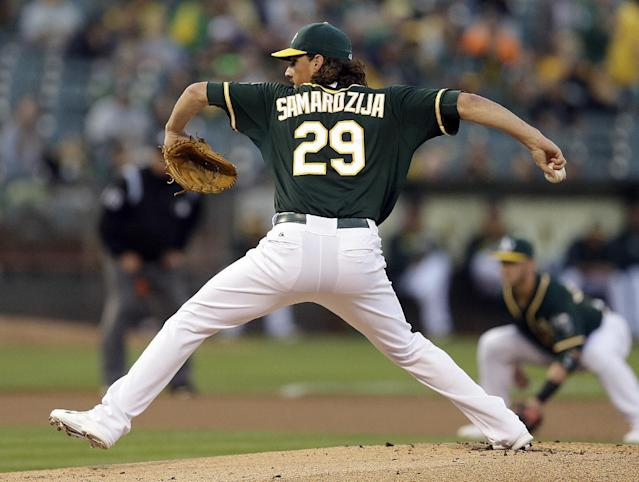 FILE - In this Sept. 5, 2014, file photo, Oakland Athletics' Jeff Samardzija works against the Houston Astros in the first inning of a baseball game in Oakland, Calif. The Athletics traded an All-Star for the third time in less than two weeks, sending right-hander Jeff Samardzija to the Chicago White Sox on Tuesday, Dec. 9, 2014. (AP Photo/Ben Margot, File)