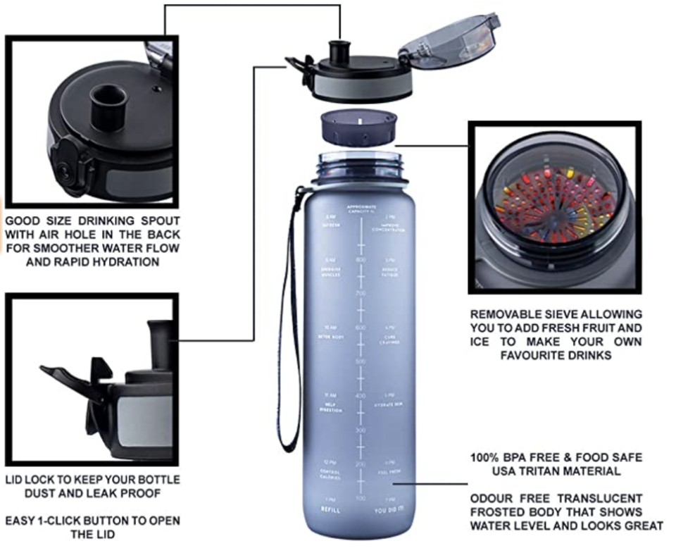 PHOTO: Amazon. 1L Motivational Water Bottle, Hydration Tracking, Light-Weight, BPA Free