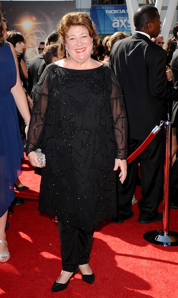 Margo Martindale arrives at the 2013 Primetime Creative Arts Emmy Awards, on Sunday, September 15, 2013 at Nokia Theatre L.A. Live, in Los Angeles, Calif. (Photo by Scott Kirkland/Invision for Academy of Television Arts & Sciences/AP Images)