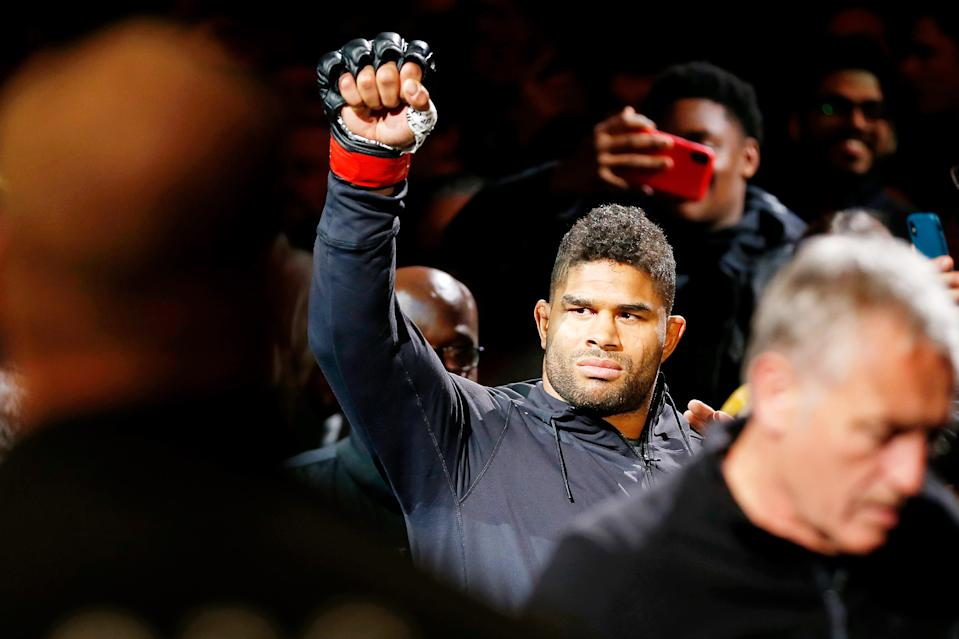 Dec 7, 2019; Washington, DC, USA; Alistair Overeem (red gloves) is announced before his fight against Jairzinho Rozenstruik (not pictured) during UFC Fight Night at Capital One Arena. Mandatory Credit: Amber Searls-USA TODAY Sports