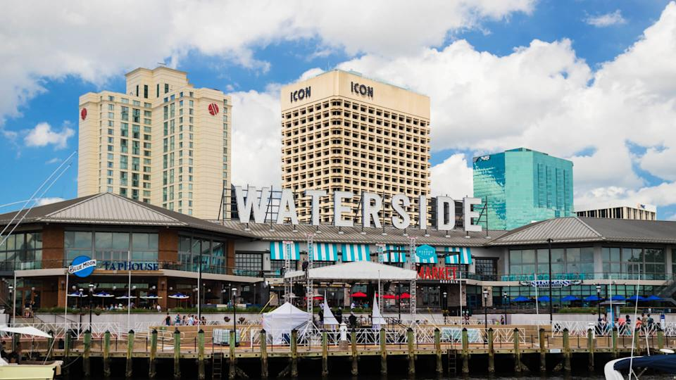 NORFOLK, VIRGINIA, USA ? MAY 27, 2018: Norfolk's Waterside District, a dining and entertainment area along the city's waterfront.