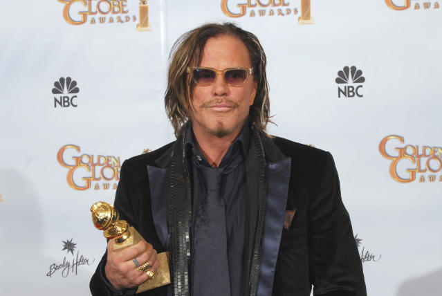 Mickey Rourke in the photo room during the 66th Annual Golden Globes Awards in 2009. (Photo: Dave Bjerke/NBC/NBCU Photo Bank via Getty Images)