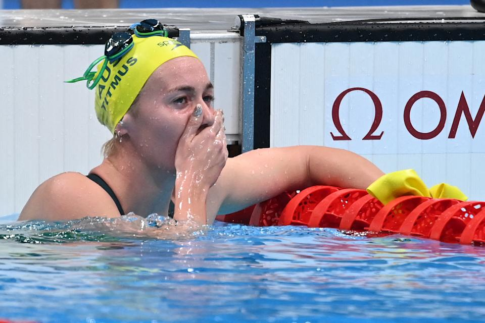 Seen here, Ariarne Titmus reacts with shock after winning the 400m freestyle gold medal at the Tokyo Olympics.