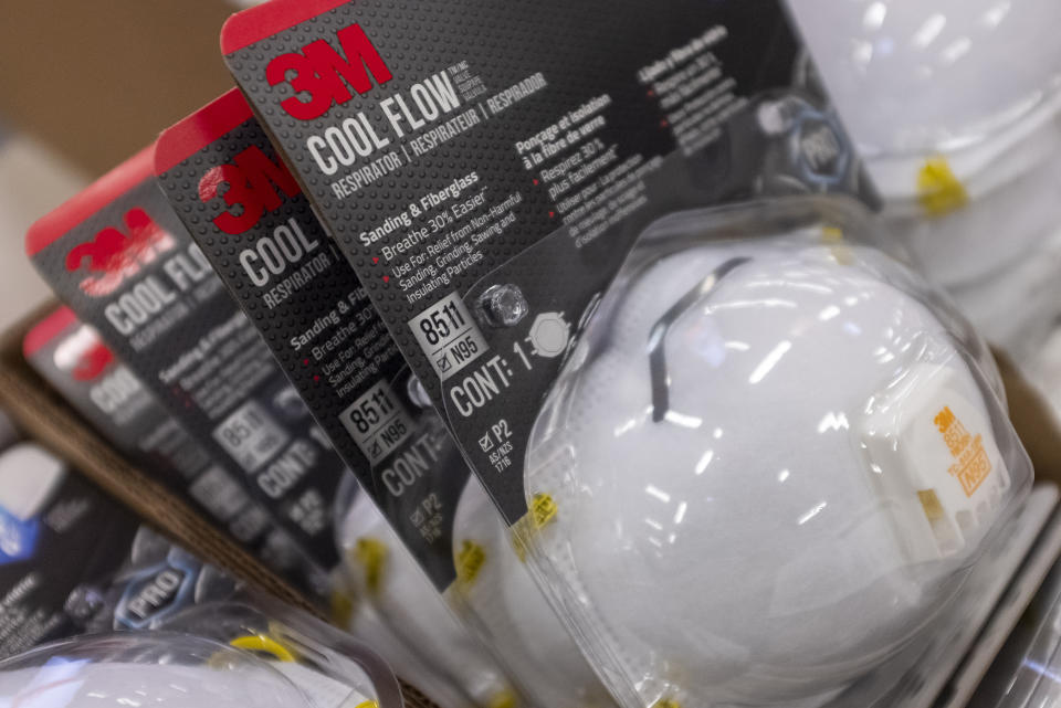 3M N95 particulate filtering face mask are seen at a store in East Palo Alto, California, United States on January 26, 2020. There are now 8,235 confirmed cases of coronavirus, with 171 death and 143 recovered. (Photo by Yichuan Cao/NurPhoto via Getty Images)