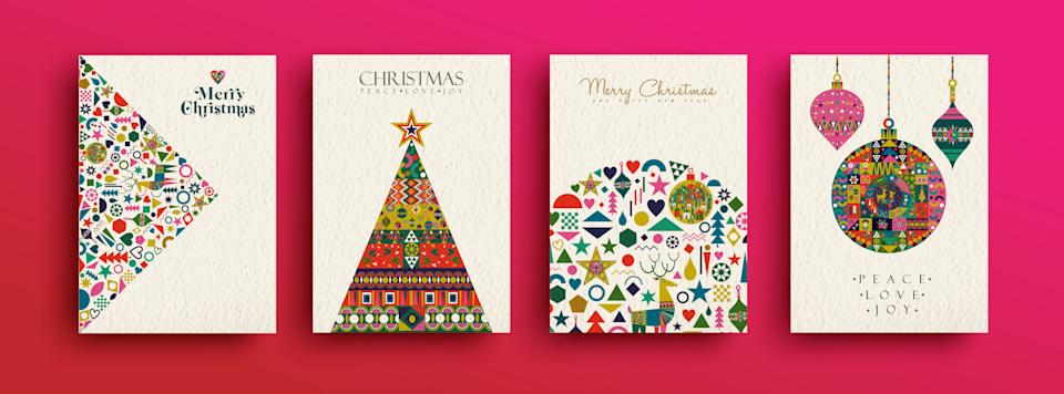 Merry Christmas holiday folk art card collection. Template set of scandinavian style xmas tree and traditional geometric shapes in festive colors. EPS10 vector. (Photo: cienpies via Getty Images)