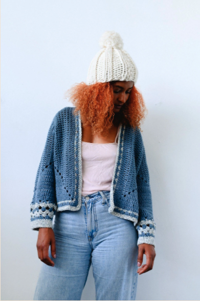 "<br><br><strong>Birdsong x Katie Jones</strong> Recycled Denim Crochet Cardigan, $, available at <a href=""https://birdsong.london/collections/birdsong-x-katie-jones/products/birdsong-x-katie-jones-recycled-denim-crochet-cardigan"" rel=""nofollow noopener"" target=""_blank"" data-ylk=""slk:Birdsong"" class=""link rapid-noclick-resp"">Birdsong</a>"