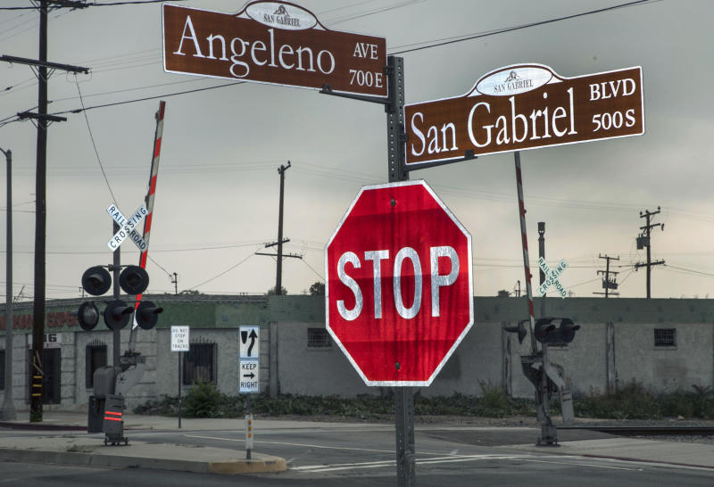 An intersection where the U.S. Commerce Department Secretary John Bryson suffered a traffic accident Saturday June 9, 2012 in the San Gabriel area of Los Angeles Monday, June 11, 2012. Officials on Monday said U.S. Commerce Secretary Bryson had suffered a seizure in connection with two Los Angeles-area traffic crashes that led to a felony hit-and-run citation. (AP Photo/Damian Dovarganes)