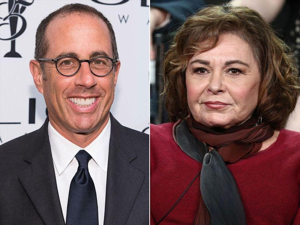 Jerry Seinfeld and Roseanne Barr (Credit: Getty)