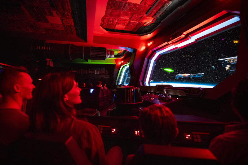 Guests dodge huge turbolaser cannons as they attempt to escape a First Order Star Destroyer as part of Star Wars: Rise of the Resistance, the groundbreaking new attraction opening Dec. 5, 2019, inside Star Wars: Galaxy's Edge at Disney's Hollywood Studios in Florida and Jan. 17, 2020, at Disneyland Park in California. (Matt Stroshane, photographer)