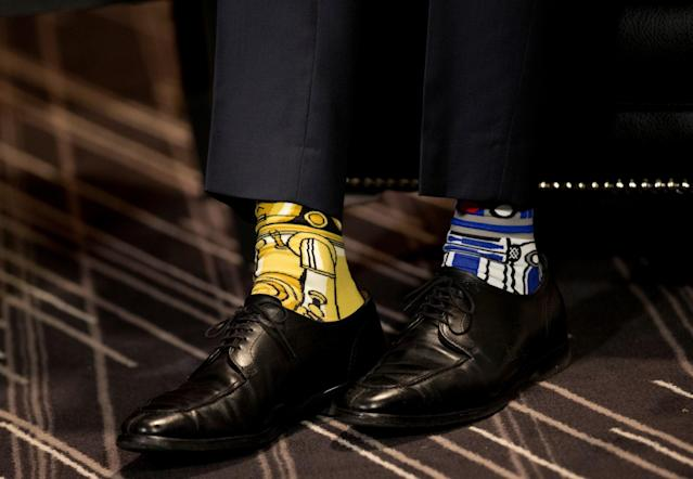 <p>Canadian Prime Minister Justin Trudeau wears Star Wars-themed socks as he meets with his Irish counterpart, Taoiseach Enda Kenny, during Kenny's visit to Montreal, Quebec, on May 4, 2017. (Photo: Christinne Muschi/Reuters) </p>