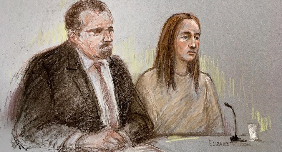 Court artist sketch of Lucy Letby, next to her solicitor Richard Thomas, appearing via video link at Warrington Magistrates' Court. Source: Elizabeth Cook/ AP