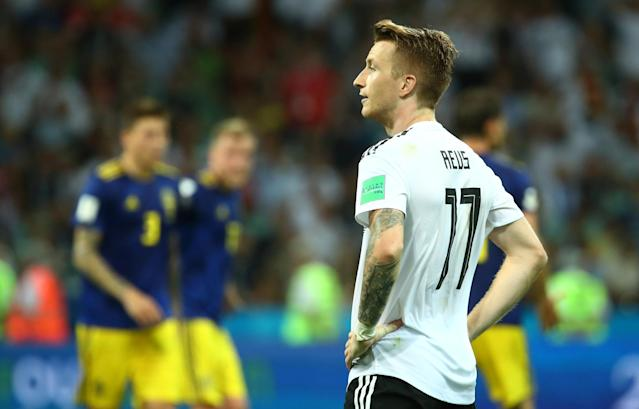 Soccer Football - World Cup - Group F - Germany vs Sweden - Fisht Stadium, Sochi, Russia - June 23, 2018 Germany's Marco Reus reacts REUTERS/Michael Dalder