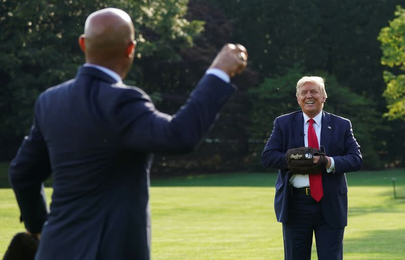 Trump hosts youth baseball players at the White House in Washington