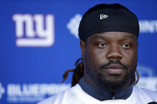 New York Giants defensive tackle Damon Harrison talks to reporters during the team's NFL football organized activities, Tuesday, June 12, 2018, in East Rutherford, N.J.. (AP Photo/Adam Hunger)
