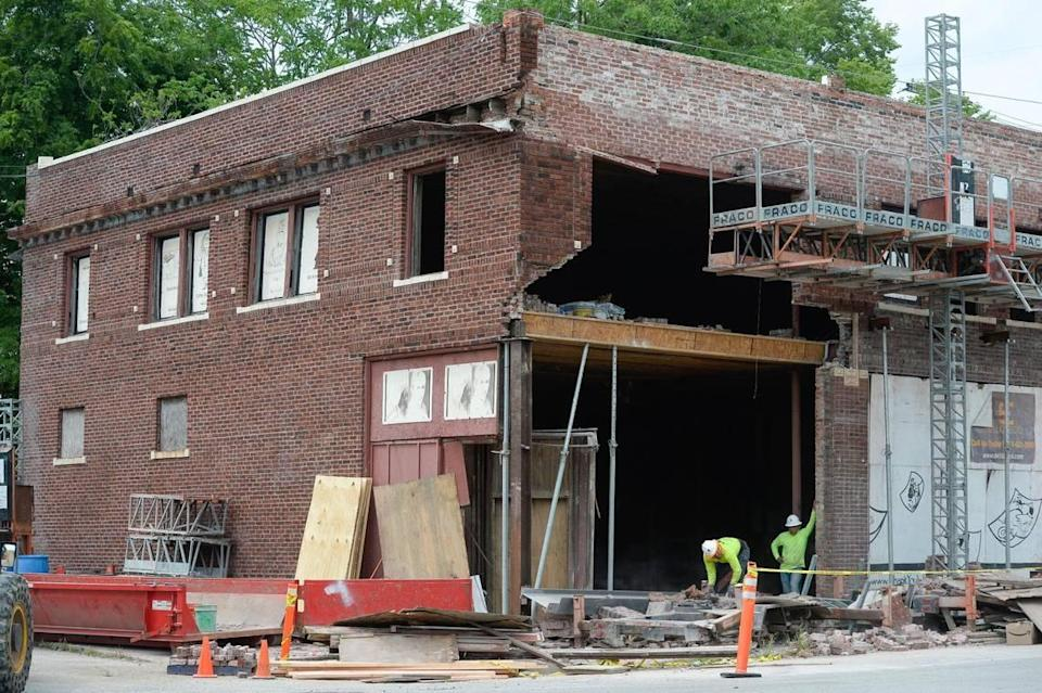 A car crashed into the historic McConahay Building, which holds the Walt Disney Laugh-O-Gram studio office at 1127 E. 31st St. overnight Friday. The building is currently undergoing a $5.5 million renovation to become a museum.