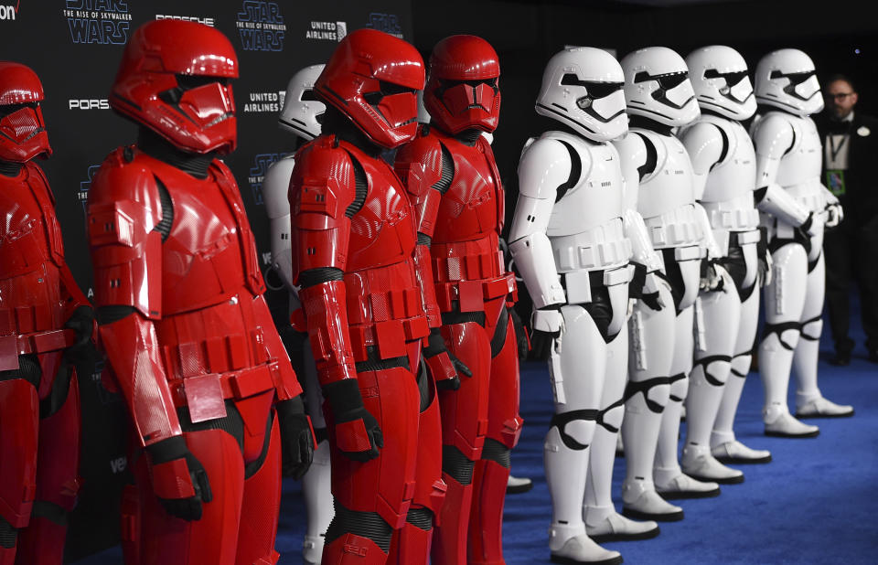 """Stormtrooper characters appear on the red carpet at world premiere of """"Star Wars: The Rise of Skywalker"""" on Monday, Dec. 16, 2019, in Los Angeles (Jordan Strauss/Invision/AP)"""