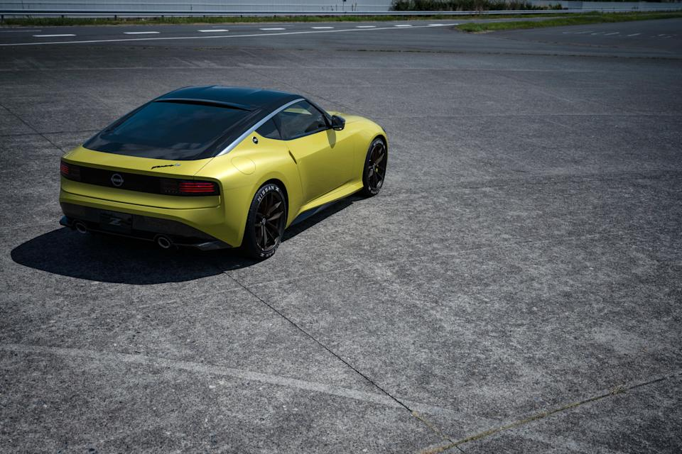 "<p>A new generation of the legendary Z-car is almost here, and <a href=""https://www.caranddriver.com/nissan"" rel=""nofollow noopener"" target=""_blank"" data-ylk=""slk:Nissan"" class=""link rapid-noclick-resp"">Nissan</a> is giving a preview with this production-intent Z Proto. Powered by a twin-turbocharged 3.0-liter V-6 engine that pairs with a standard six-speed manual transmission, the new Z is likely to be called <a href=""https://www.caranddriver.com/nissan/400z"" rel=""nofollow noopener"" target=""_blank"" data-ylk=""slk:400Z"" class=""link rapid-noclick-resp"">400Z</a> when it arrives next year. Its design harks back to prior versions of the Z, with inspiration taken from the 240Z and the 300ZX. See the Z's various angles and peek inside its interior in this photo gallery.</p><p><a class=""link rapid-noclick-resp"" href=""https://www.caranddriver.com/news/a34016940/nissan-z-proto-revealed/"" rel=""nofollow noopener"" target=""_blank"" data-ylk=""slk:Read the Full Story"">Read the Full Story</a></p>"