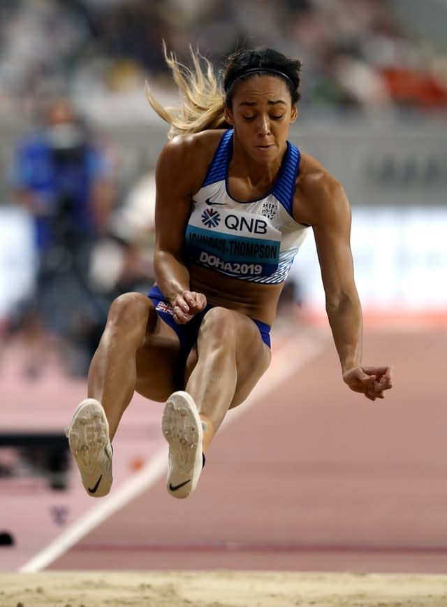 The long jump provided one of several personal bests for Katarina Johnson-Thompson in Doha (Martin Rickett/PA)