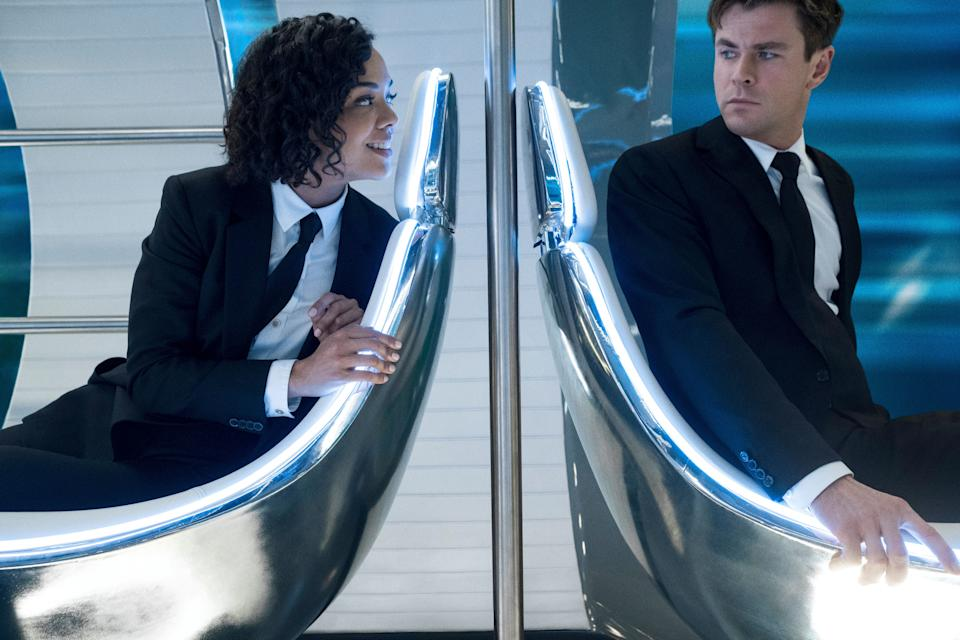 Agent M (Tessa Thompson) and Agent H (Chris Hemsworth) riding the Marrakesh Hyperloop in Columbia Pictures' MEN IN BLACK: INTERNATIONAL. (Sony Pictures)