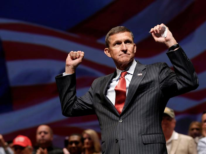General Michael Flynn reacts at a campaign event for then Republican presidential nominee Donald Trump in Virginia Beach, Virginia, U.S., September 6, 2016.  (REUTERS)