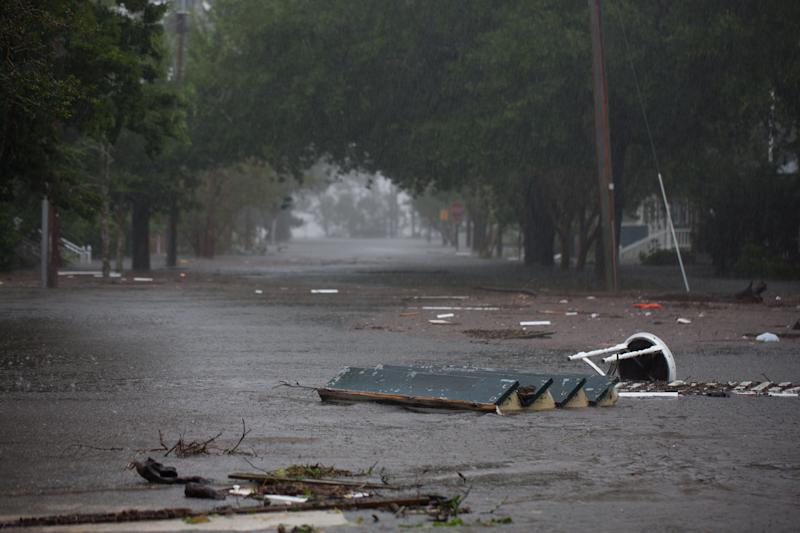 Flood waters rise up from the Neuse River in New Bern, North Carolina on Friday.