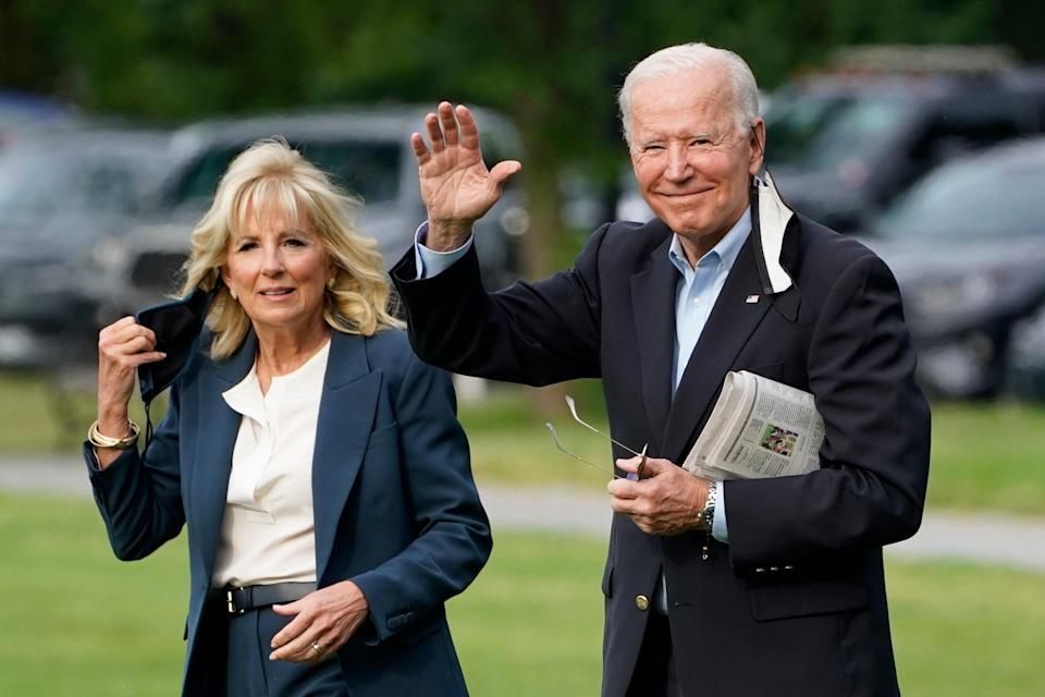 President Joe Biden and first lady Jill Biden depart the White House on June 9, 2021, for their first international trip, to the United Kingdom to attend a summit and to meet with Queen Elizabeth II.