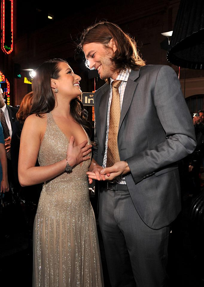 """<a href=""""http://movies.yahoo.com/movie/contributor/1809577613"""">Lea Michele</a> and <a href=""""http://movies.yahoo.com/movie/contributor/1800354733"""">Ashton Kutcher</a> at the Los Angeles premiere of <a href=""""http://movies.yahoo.com/movie/1810219047/info"""">New Year's Eve</a> on December 5, 2011."""