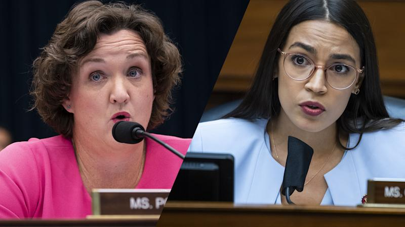 Rep. Katie Porter, Rep. Alexandria Ocasio-Cortez. (Al Drago/Bloomberg via Getty Images,Tom Williams/CQ Roll Call/Bloomberg via Getty Images)