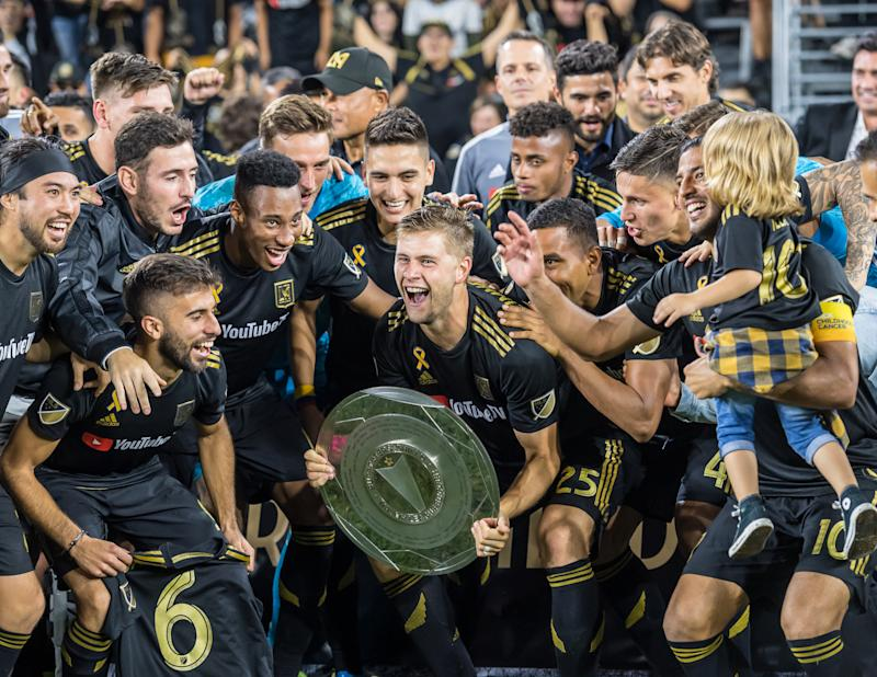 LOS ANGELES, CA - SEPTEMBER 25: Los Angeles FC celebrates winning the Supporters Shield following Los Angeles FC's MLS match against Houston Dynamo at the Banc of California Stadium on September 25, 2019 in Los Angeles, California. Los Angeles FC won the match 3-1 (Photo by Shaun Clark/Getty Images)
