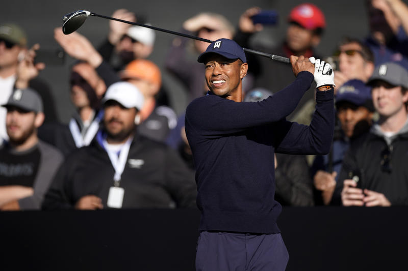Tiger Woods hits his tee shot on the 10th hole during the Genesis Invitational pro-am golf event at Riviera Country Club, Wednesday, Feb. 12, 2020, in the Pacific Palisades area of Los Angeles. (AP Photo/Ryan Kang)