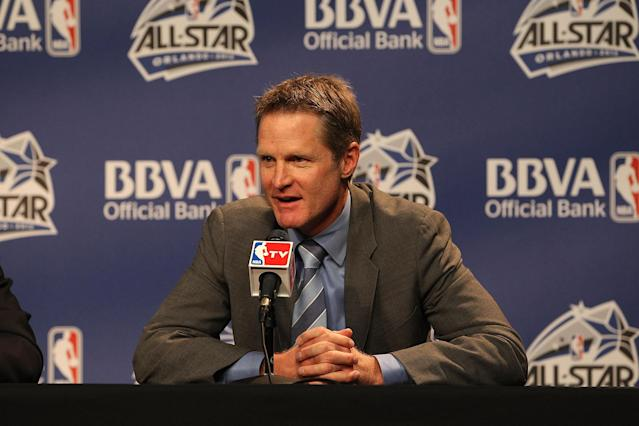 ORLANDO, FL - FEBRUARY 24: Coach Steve Kerr of Team Shaq responds to reporters during a press conference prior to the BBVA Rising Stars Challenge as part of 2012 All-Star Weekend at the Amway Center on February 24, 2012 in Orlando, Florida. (Photo by Gary Dineen/NBAE via Getty Images)