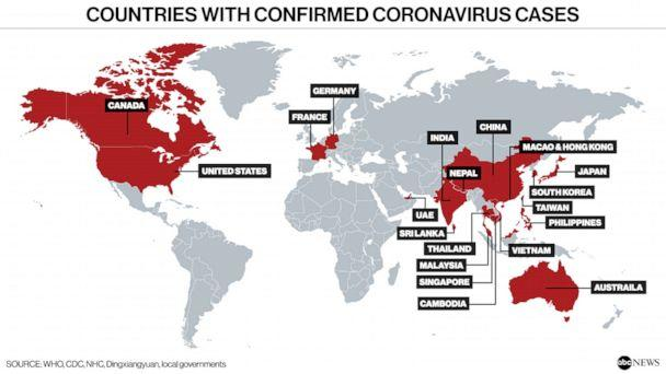 Countries with Confirmed Coronavirus Cases (ABC NEWS)