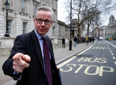 MICHAEL GOVE, 51: Gove, one of the highest-profile Brexit campaigners during the 2016 referendum, has had to rebuild his cabinet career after falling early to May in the contest to replace Cameron, who resigned the day after losing the referendum.  Seen as one of the most effective members of cabinet in bringing forward new policies, the high-energy environment minister has become a surprise ally to May and has backed her Brexit strategy.  Gove teamed up with Johnson during the 2016 Brexit campaign only to pull his support for Johnson's subsequent leadership bid at the last moment and run himself.  He has not yet said whether he plans to run.  REUTERS/Henry Nicholls