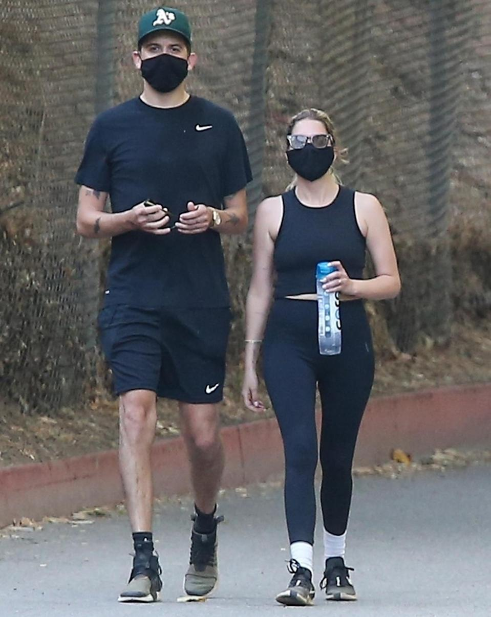 <p>New lovebirds G-Eazy and Ashley Benson take a hike together on Thursday in L.A.</p>